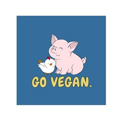 Go Vegan   Cute Pig And Chicken Small Satin Scarf (square) by Valentinaart
