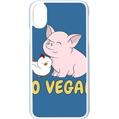 Go Vegan   Cute Pig And Chicken Apple Iphone X Seamless Case (white) by Valentinaart