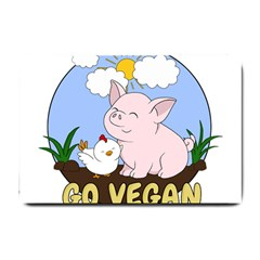 Go Vegan   Cute Pig And Chicken Small Doormat  by Valentinaart