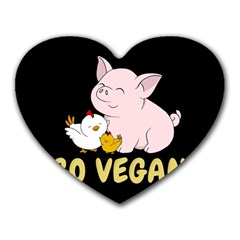 Go Vegan   Cute Pig And Chicken Heart Mousepads by Valentinaart