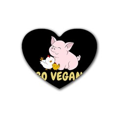 Go Vegan   Cute Pig And Chicken Heart Coaster (4 Pack)  by Valentinaart