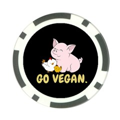 Go Vegan   Cute Pig And Chicken Poker Chip Card Guard by Valentinaart