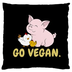 Go Vegan   Cute Pig And Chicken Large Cushion Case (one Side) by Valentinaart