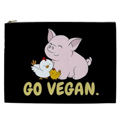 Go Vegan   Cute Pig And Chicken Cosmetic Bag (xxl)  by Valentinaart
