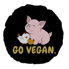 Go Vegan   Cute Pig And Chicken Large 18  Premium Round Cushions by Valentinaart