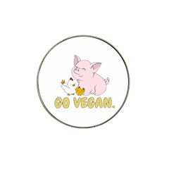 Go Vegan   Cute Pig And Chicken Hat Clip Ball Marker (4 Pack) by Valentinaart