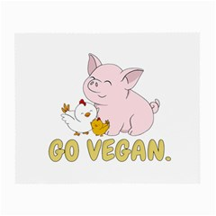 Go Vegan   Cute Pig And Chicken Small Glasses Cloth by Valentinaart