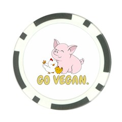 Go Vegan   Cute Pig And Chicken Poker Chip Card Guard (10 Pack) by Valentinaart