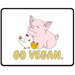 Go Vegan   Cute Pig And Chicken Fleece Blanket (medium)  by Valentinaart