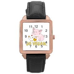 Go Vegan   Cute Pig And Chicken Rose Gold Leather Watch  by Valentinaart