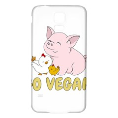 Go Vegan   Cute Pig And Chicken Samsung Galaxy S5 Back Case (white) by Valentinaart