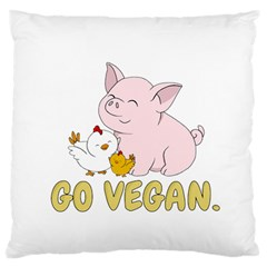 Go Vegan   Cute Pig And Chicken Large Flano Cushion Case (two Sides) by Valentinaart