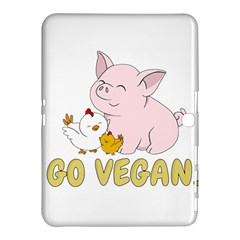 Go Vegan   Cute Pig And Chicken Samsung Galaxy Tab 4 (10 1 ) Hardshell Case  by Valentinaart