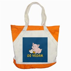 Go Vegan   Cute Pig And Chicken Accent Tote Bag by Valentinaart