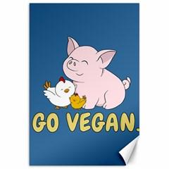 Go Vegan   Cute Pig And Chicken Canvas 20  X 30   by Valentinaart