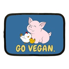 Go Vegan   Cute Pig And Chicken Netbook Case (medium)  by Valentinaart