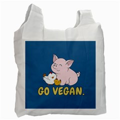 Go Vegan   Cute Pig And Chicken Recycle Bag (one Side) by Valentinaart
