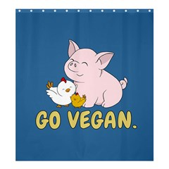 Go Vegan   Cute Pig And Chicken Shower Curtain 66  X 72  (large)  by Valentinaart
