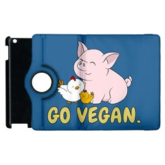 Go Vegan   Cute Pig And Chicken Apple Ipad 3/4 Flip 360 Case by Valentinaart
