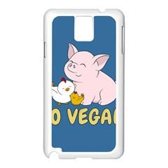 Go Vegan   Cute Pig And Chicken Samsung Galaxy Note 3 N9005 Case (white) by Valentinaart