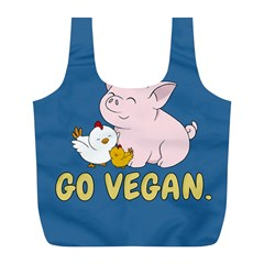 Go Vegan   Cute Pig And Chicken Full Print Recycle Bags (l)  by Valentinaart