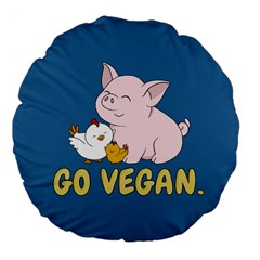 Go Vegan   Cute Pig And Chicken Large 18  Premium Flano Round Cushions by Valentinaart