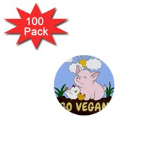 Go Vegan   Cute Pig And Chicken 1  Mini Buttons (100 Pack)  by Valentinaart