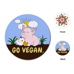 Go Vegan   Cute Pig And Chicken Playing Cards (round)  by Valentinaart