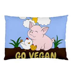 Go Vegan   Cute Pig And Chicken Pillow Case by Valentinaart
