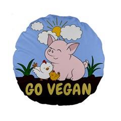 Go Vegan   Cute Pig And Chicken Standard 15  Premium Round Cushions by Valentinaart