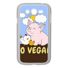 Go Vegan   Cute Pig And Chicken Samsung Galaxy Grand Duos I9082 Case (white) by Valentinaart