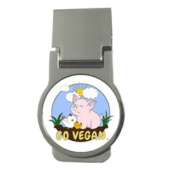 Go Vegan   Cute Pig And Chicken Money Clips (round)  by Valentinaart