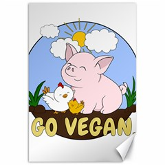Go Vegan   Cute Pig And Chicken Canvas 20  X 30   by Valentinaart