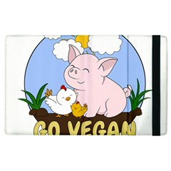 Go Vegan   Cute Pig And Chicken Apple Ipad 3/4 Flip Case by Valentinaart