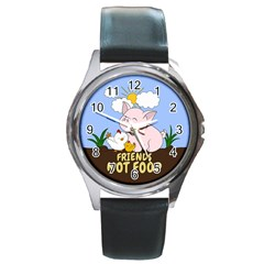 Friends Not Food   Cute Pig And Chicken Round Metal Watch by Valentinaart