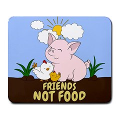 Friends Not Food   Cute Pig And Chicken Large Mousepads by Valentinaart