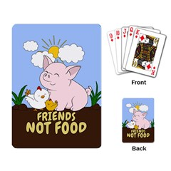 Friends Not Food   Cute Pig And Chicken Playing Card by Valentinaart