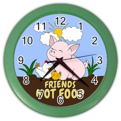 Friends Not Food   Cute Pig And Chicken Color Wall Clocks by Valentinaart