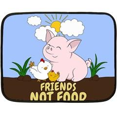 Friends Not Food   Cute Pig And Chicken Fleece Blanket (mini) by Valentinaart
