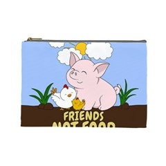 Friends Not Food   Cute Pig And Chicken Cosmetic Bag (large)  by Valentinaart