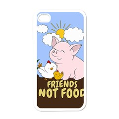 Friends Not Food   Cute Pig And Chicken Apple Iphone 4 Case (white) by Valentinaart
