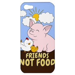 Friends Not Food   Cute Pig And Chicken Apple Iphone 5 Hardshell Case by Valentinaart