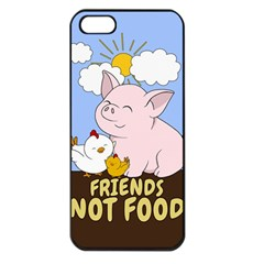 Friends Not Food   Cute Pig And Chicken Apple Iphone 5 Seamless Case (black) by Valentinaart
