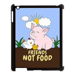 Friends Not Food   Cute Pig And Chicken Apple Ipad 3/4 Case (black) by Valentinaart