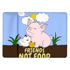 Friends Not Food   Cute Pig And Chicken Samsung Galaxy Tab 10 1  P7500 Flip Case by Valentinaart