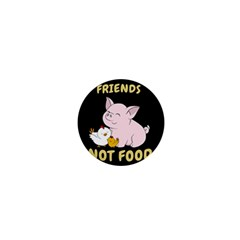 Friends Not Food   Cute Pig And Chicken 1  Mini Buttons by Valentinaart