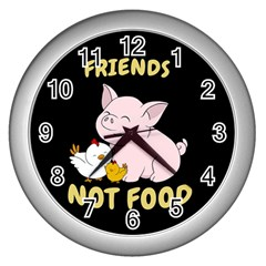 Friends Not Food   Cute Pig And Chicken Wall Clocks (silver)  by Valentinaart
