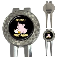 Friends Not Food   Cute Pig And Chicken 3 In 1 Golf Divots by Valentinaart