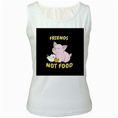 Friends Not Food   Cute Pig And Chicken Women s White Tank Top by Valentinaart