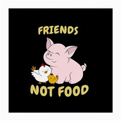 Friends Not Food   Cute Pig And Chicken Medium Glasses Cloth (2 Side) by Valentinaart